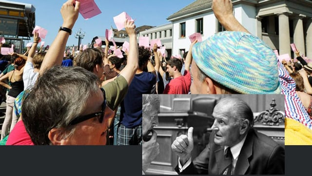 Willi Ritschard in schwarz-weiss, im Hintergrund Abstimmung