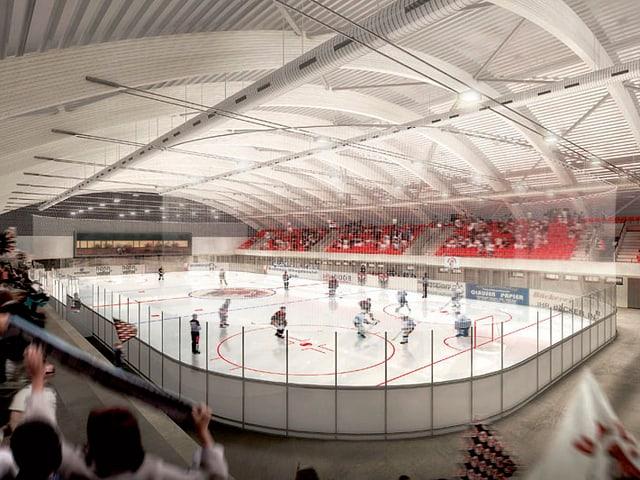 Eishalle mit Hockeyspielern
