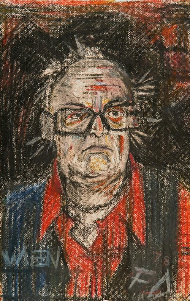 Zeichnung eines Mannes der mürrisch schaut eine schwarze Brille, rotes Hemd und schwarzer Weste trägt.