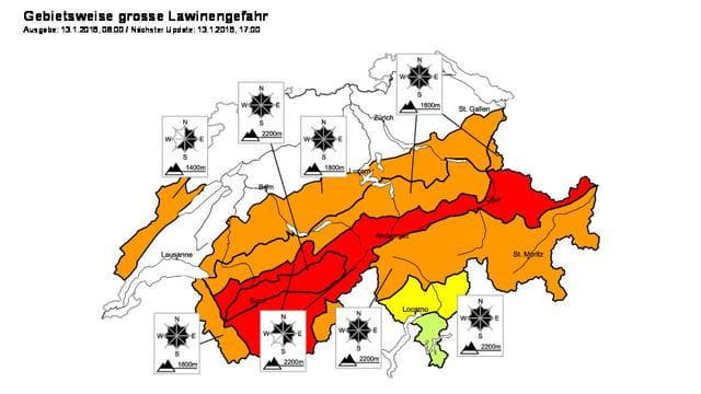Gefahrenkarte des Schnee- und Lawinenforschungsinstitutes (SLF) vom 13. Januar.