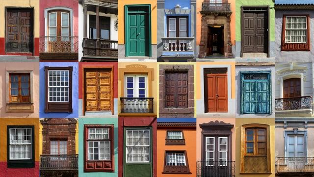 Bildzusammenschnitt von vielen verschiedenen Haustüren, in vielen verschiedenen Farben.