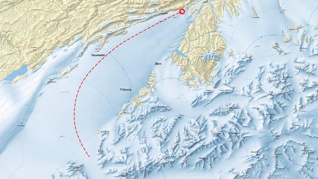 Karte der Schweiz zur letzten grossen Eiszeit: Ein roter Pfad zeigt, welchen Weg der Stein genommen haben könnte.