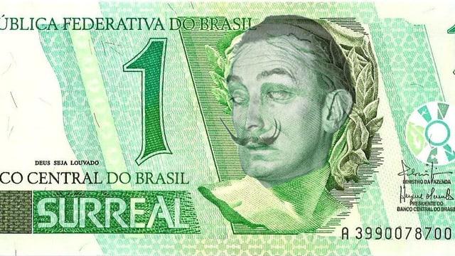 Brasilianische 100-Reais-Note, gefälscht mit Porträt von Salvador Dali statt einem Bild der Republik.