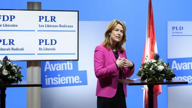 Petra Gössi an der digitalen Delegiertenversammlung am 6. Februar 2021 in Bern.