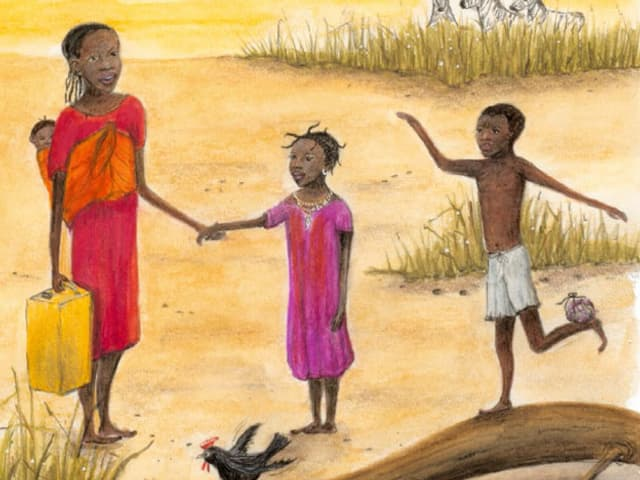 Zeichnung aus dem Bilderbuch «Der grosse Wunsch»: Das afrikanische Mädchen Semaya mit der Mutter und den Geschwistern.