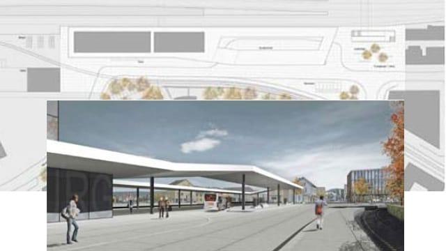 Plan und Visualisierung Bahnhofplatz