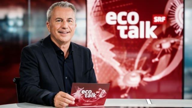 Logo der Sendung «ECO Talk» mit Moderator Reto Lipp.
