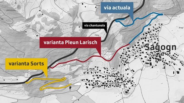 Il plan cun las variantas da vias per igl access a Sagogn