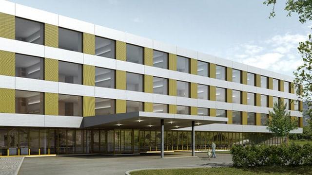 Visualisierung des neuen Bettentraktes des Kantonsspital Obwalden.