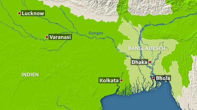 Landkarte von Indien & Bangladesh