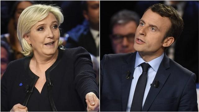 Le Pen und Macron in einer Fotocollage