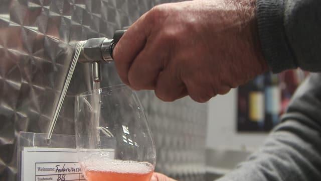 Ein Mann lässt Wein aus einem Fass in ein Glas.