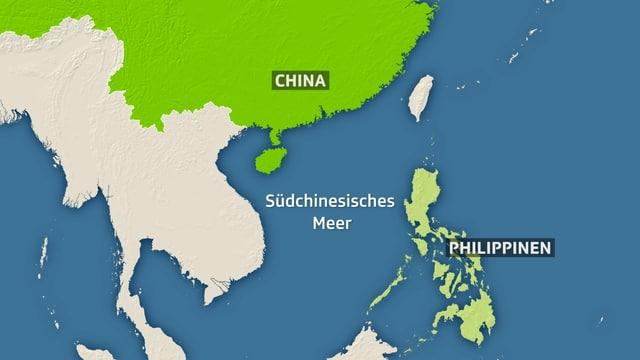 Die Philippinen, das Südchinesische Meer und China auf einer Karte