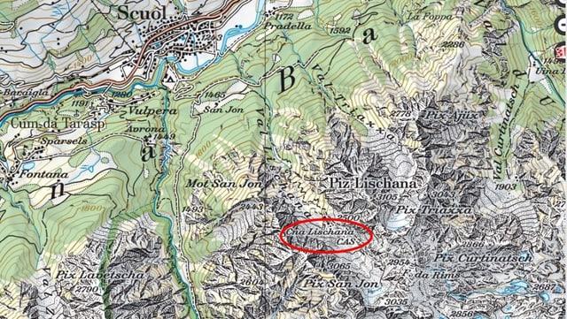 carta geografica cun marcaziun Lischana