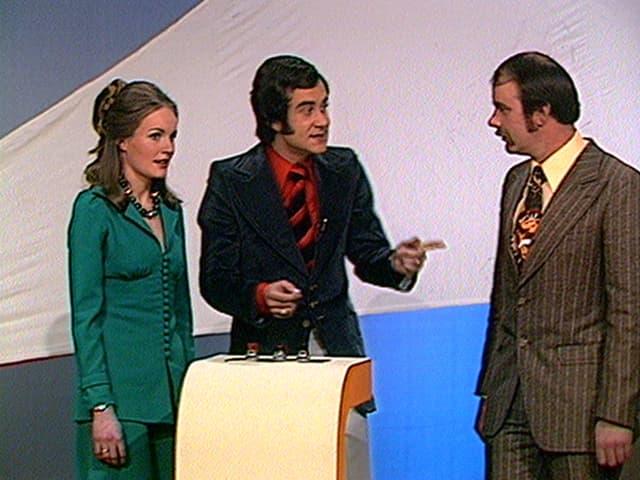 Kurt Felix mit dem Ehepaar Remund im ersten Teleboy.