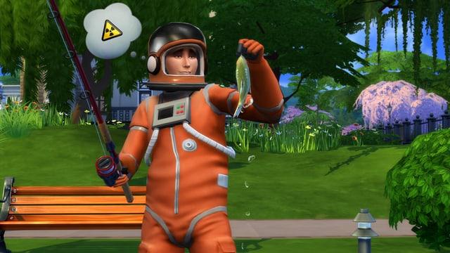Ein Sims in einem Strahlenschutzanzug hat einen Fisch gefangen.