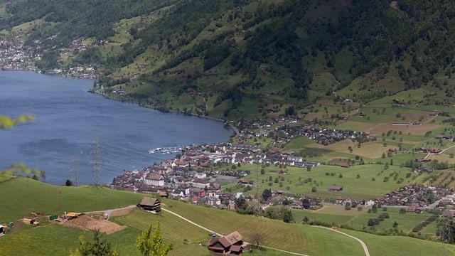 Luftaufnahme der Gemeinde Arth am See