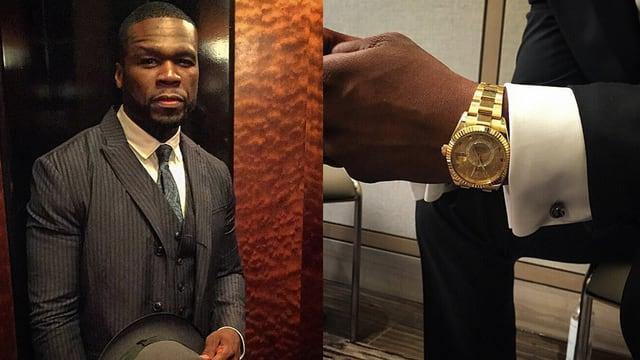 Splittscreen: Links Rapper 50 Cent im teuren Nadelstreifenanzug, rechts mit goldener Luxusuhr.