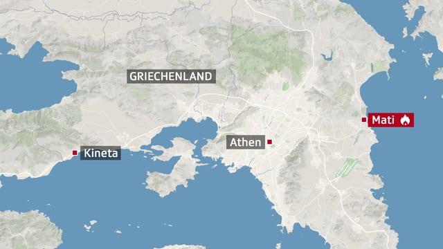 Karte von Griechenland mit Punkten bei Athen, Kineta (westlich von Athen) und Mati (östlich von Athen).