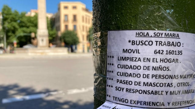 «Ich suche Arbeit» – Eine Frau hat in den Strassen von Palma Inserate aufgehängt.