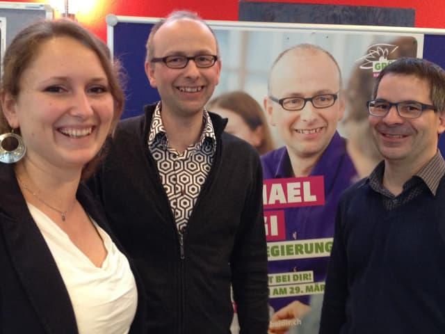 An der Delegiertenversammlung der Grünen in Liestal ist Michael Töngi (Mitte) dabei.
