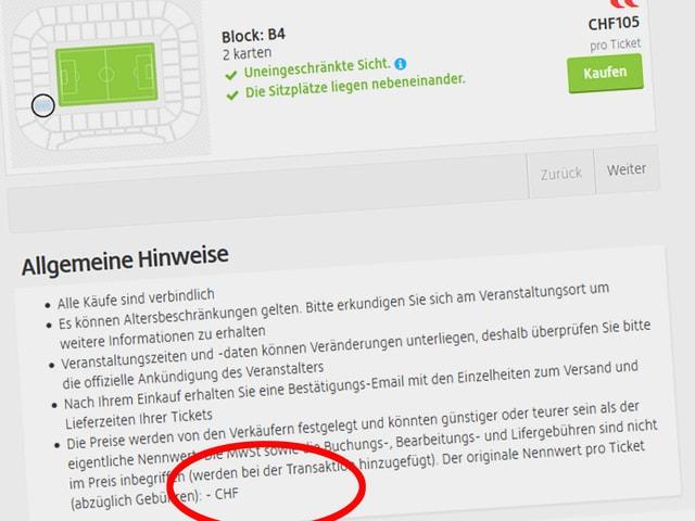Screenshot viagogo.ch