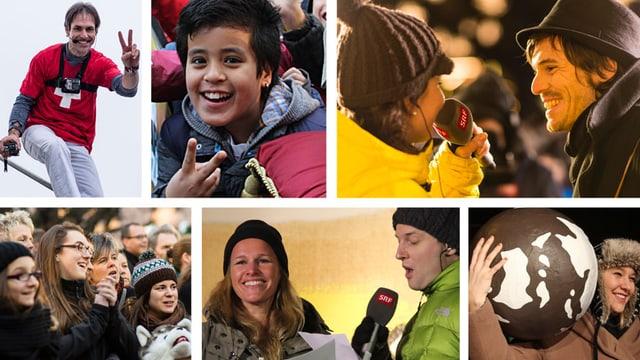 Erinnerungen an eine Woche JRZ: Mit Freddy Nock, engagierten Kids, Judith Wernli und Adrian Sieber, Kathrin Hönegger und Fabian Unteregger, Anic Lautenschlager mit der JRZ-Weltkugel.