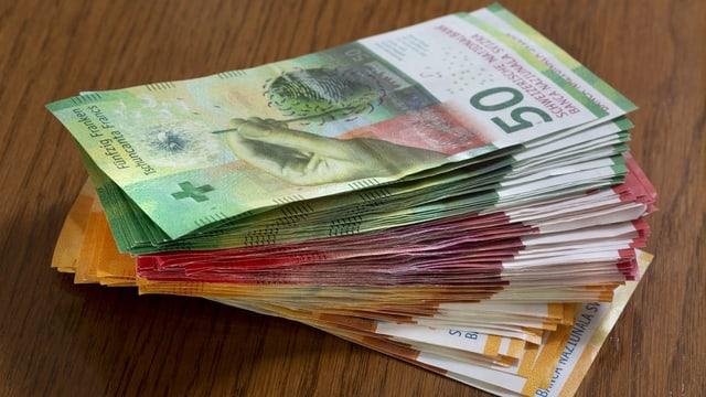 Geldnoten auf Tisch.