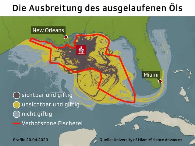 Zu sehen eine Karte, die die Öl-Katastrophe von Deepwater Horizon erklärt.