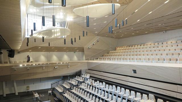 Blick in die neue Konzerthalle in Andermatt.