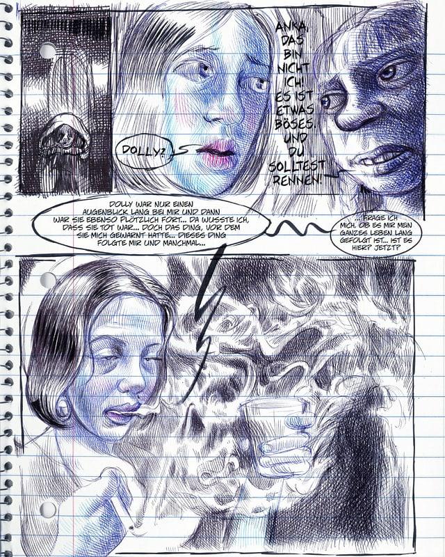 Ausschnitt aus einer Graphic Novel: auf einer Notizheftseite sind blau-schwarze Gesichter gemalt.