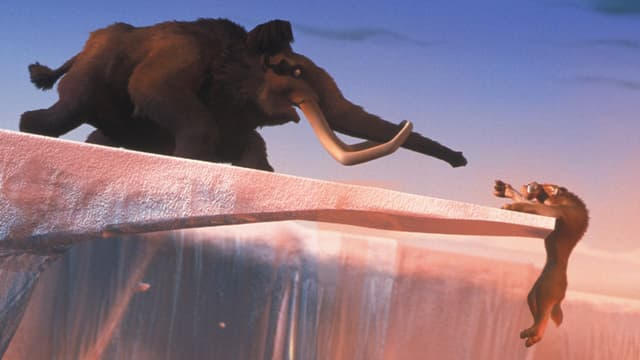 Das Mammut Manfred im Kinolfilm «Ice Age» mit seinem Freund, dem Faultier Sid.