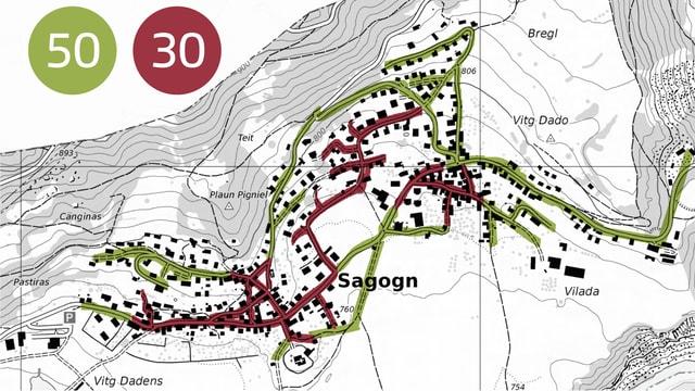 Plan cun las vias da Sagogn inditgada è tempo 30 e tempo 50.