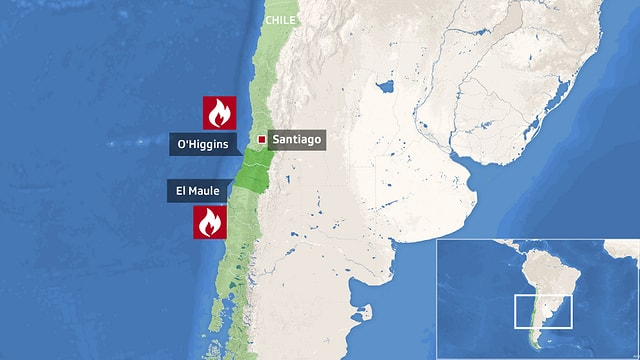 Illustrierte Karte mit den eingezeichneten Regionen O'Higgins und El Maule und der Hauptstadt Santiago
