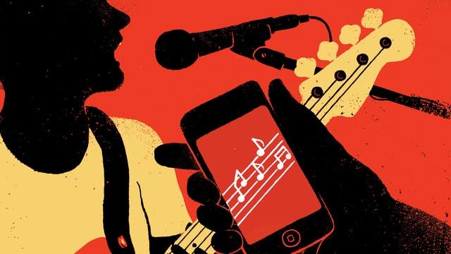 Illustration: Ein Mann mit Gitarre sing in ein Mikrofon. Im Vodergrund ein Handy, auf dessen Bildschirm Musiknoten zu sehen sind.