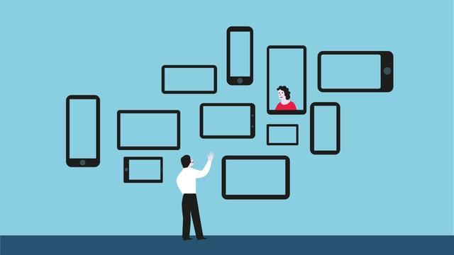 Illustration: EIn Mann steht vor Fenstern in Form von Smartphone-Displays, in einem ist eine Frau zu sehen.