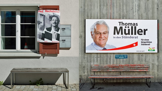 Wahlplakate von SP und SVP