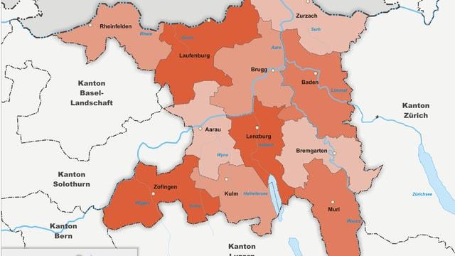 Karte des Aargaus mit den elf Bezirken.