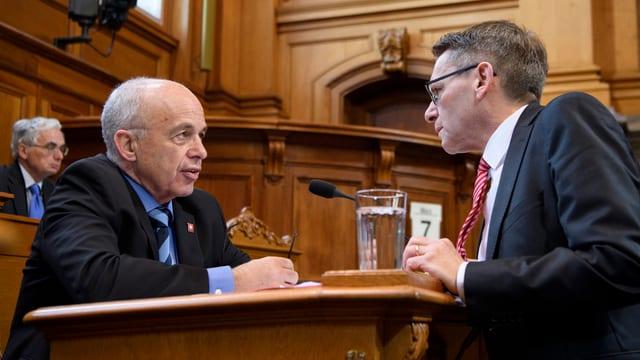 Finanzminister Ueli Maurer und Ständerat Pirmin Bischof