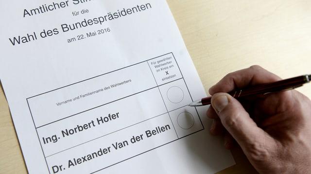 Stimmzettel Bundespräsidentenwahl Österreich