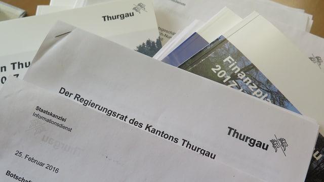 Papierige Unterlagen des Kantons Thurgau.