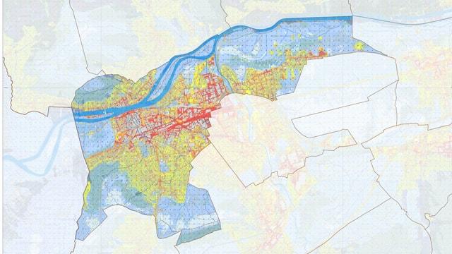 Farbige Karte Stadt Aarau