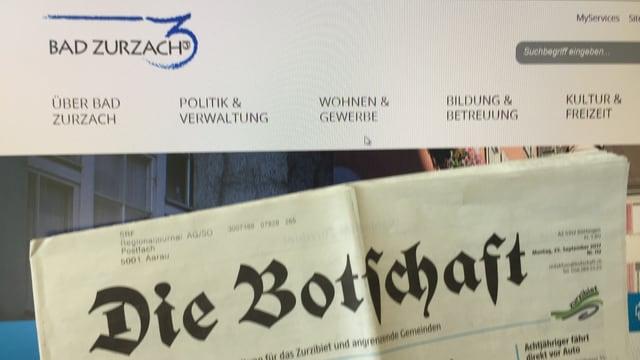 Internetseite und Zeitung «Botschaft»