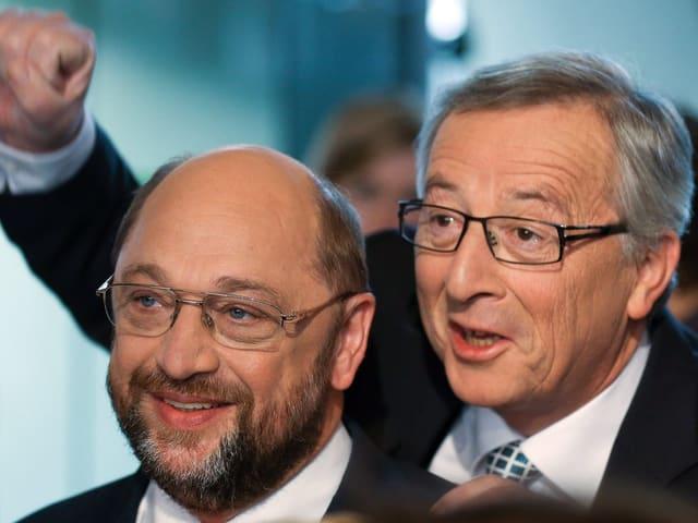 Martin Schulz, links, Jean-Claude Juncker, rechts.