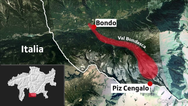 Il moviment giu dal Piz Cengalo envers la val ed il vitg da Bondo.