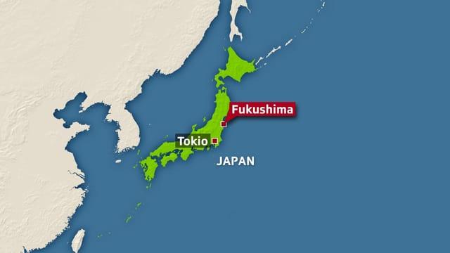 Karte von Japan mit der Verortung von Tokio und Fukushima.