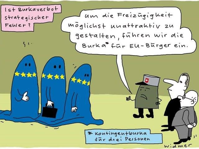 """Karikatur mit 3 Frauen, die eine """"EU-Burka"""" (blau mit gelben Sternen) tragen."""