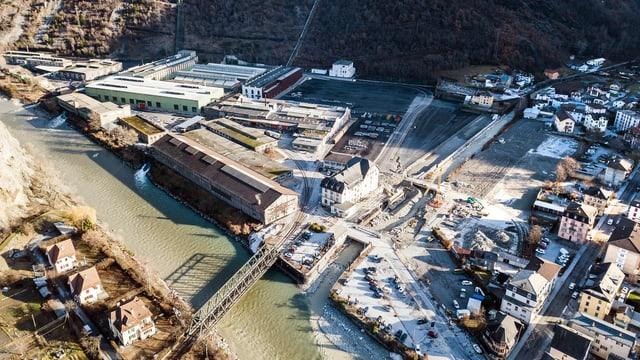 Luftaufnahme vom Industrieareal.