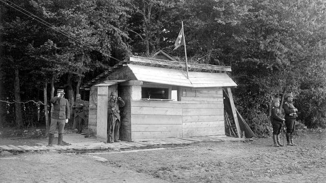 Grenzwachthütte an der elsässischen Grenze 1914-18.