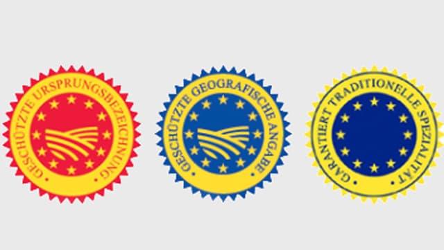 Drei EU-Gütezeichen